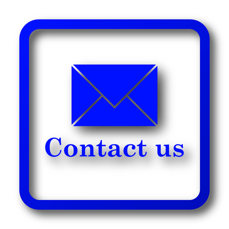 envelope: Contact us icon. Contact us website button on white background.