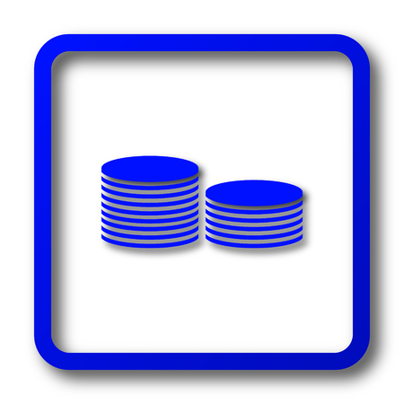 earn money: Coins.Money icon. Coins.Money website button on white background.