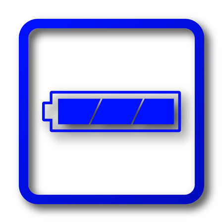 Fully charged battery icon. Fully charged battery website button on white background. Stok Fotoğraf