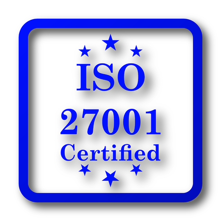 ISO 27001 icon. ISO 27001 website button on white background.