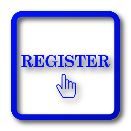 Register icon. Register website button on white background. Stock Photo