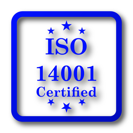 certify: ISO14001 icon. ISO14001 website button on white background.
