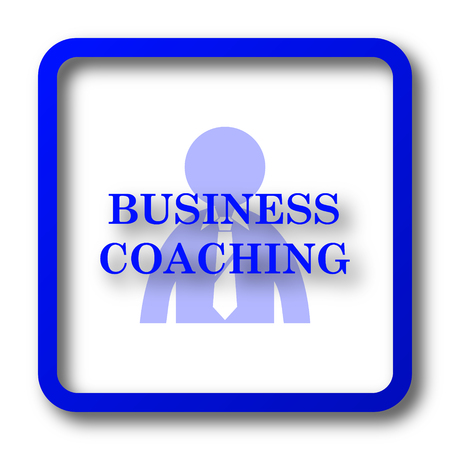 computer education: Business coaching icon. Business coaching website button on white background.