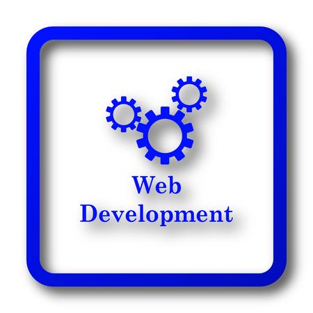 building site: Web development icon. Web development website button on white background. Stock Photo