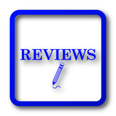tribute: Reviews icon. Reviews website button on white background.