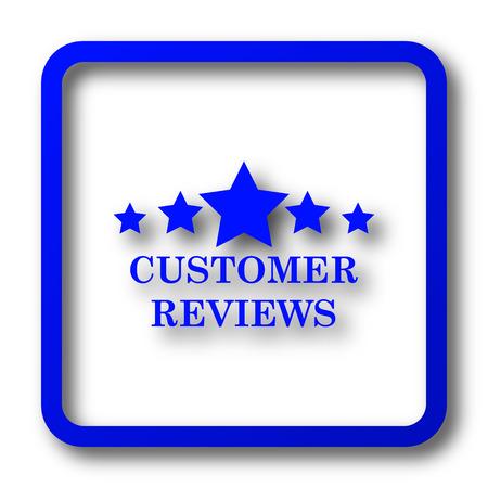 reviews: Customer reviews icon. Customer reviews website button on white background. Stock Photo