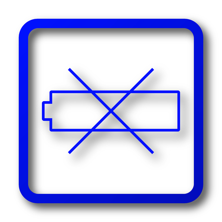 Empty battery icon. Empty battery website button on white background. Stock Photo