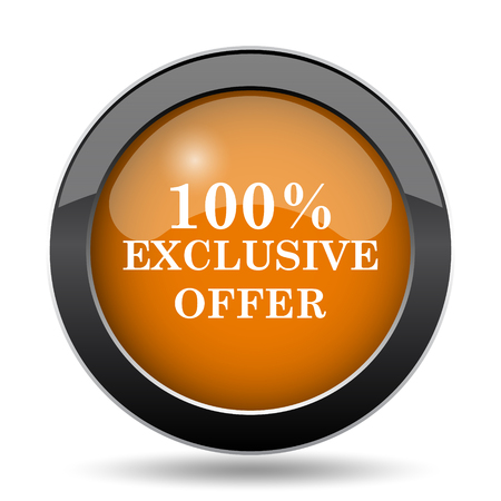 special edition: 100% exclusive offer icon. 100% exclusive offer website button on white background.