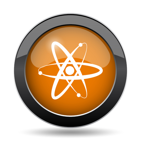 gamma radiation: Atoms icon. Atoms website button on white background.