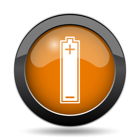 Battery icon. Battery website button on white background.