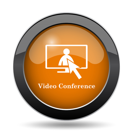 Video conference, online meeting icon. Video conference, online meeting website button on white background.
