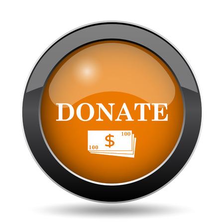 Donate icon. Donate website button on white background. Stock Photo