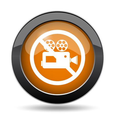Forbidden video camera icon. Forbidden video camera website button on white background.