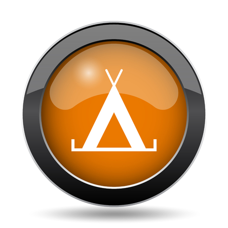 Tent icon. Tent website button on white background.