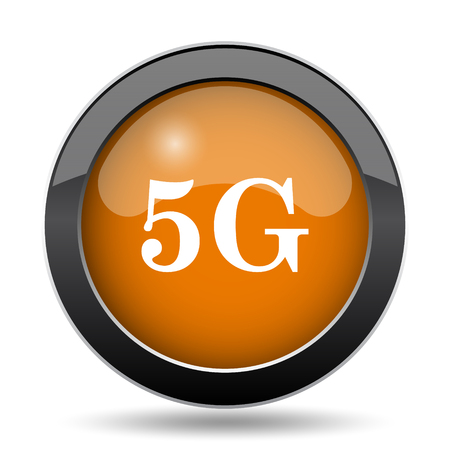 tv tower: 5G icon. 5G website button on white background.