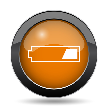 1 third charged battery icon. 1 third charged battery website button on white background.