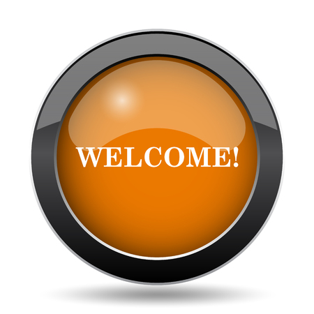 come: Welcome icon. Welcome website button on white background.