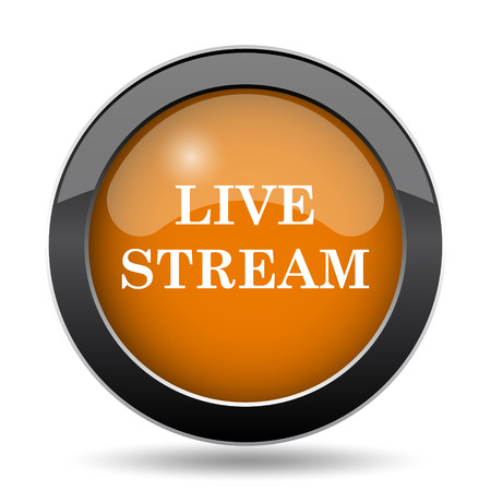 Live stream icon. Live stream website button on white background. Stock Photo