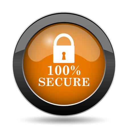 100 percent secure icon. 100 percent secure website button on white background.