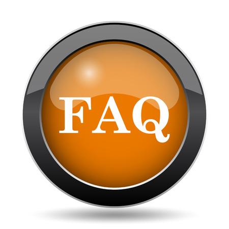 answer: FAQ icon. FAQ website button on white background.
