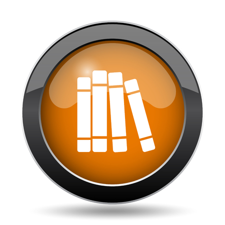 open magazine: Books library icon. Books library website button on white background.