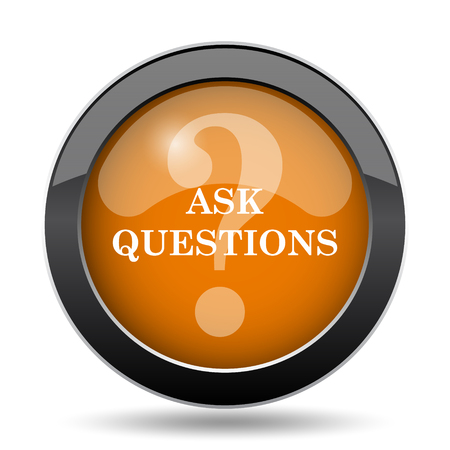 answer: Ask questions icon. Ask questions website button on white background.