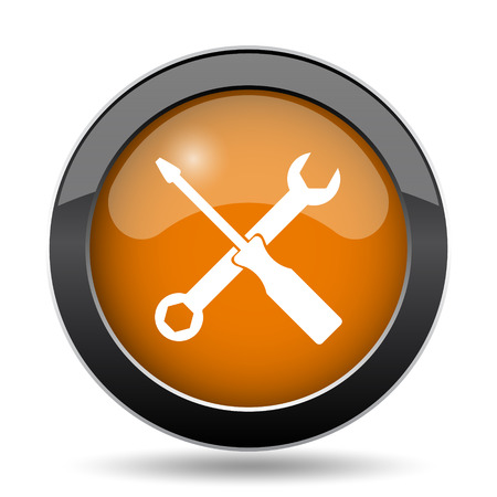 power wrench: Tools icon. Tools website button on white background.
