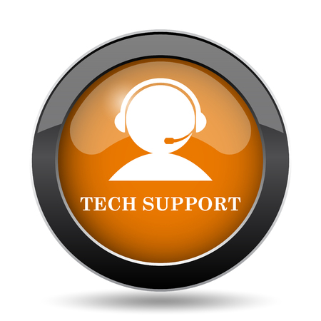 laptop repair: Tech support icon. Tech support website button on white background. Stock Photo