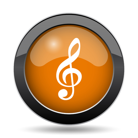 melodic: Musical note icon. Musical note website button on white background.