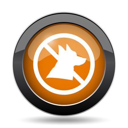 Icône des chiens interdits. Bouton interdit du site Web des chiens sur fond blanc. Banque d'images - 78310235