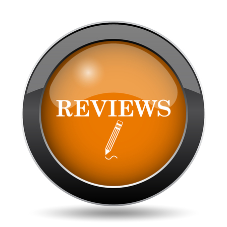 reviews: Reviews icon. Reviews website button on white background.