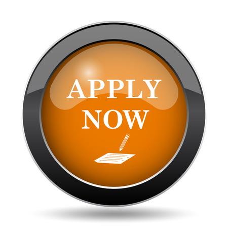 Apply now icon. Apply now website button on white background.