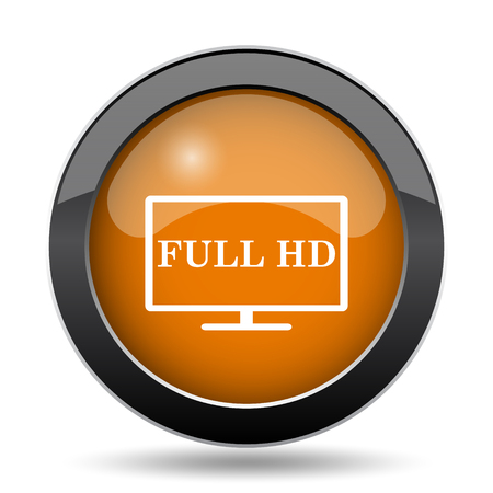Full HD icon. Full HD website button on white background.