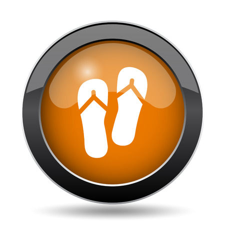 Slippers icon. Slippers website button on white background.
