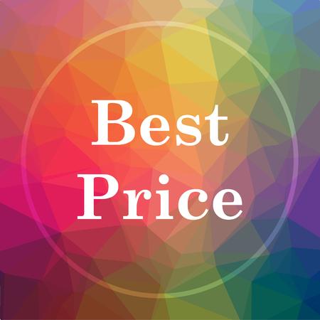 最高の価格のアイコン。低ポリ背景に最高価格ウェブサイトのボタン。 写真素材