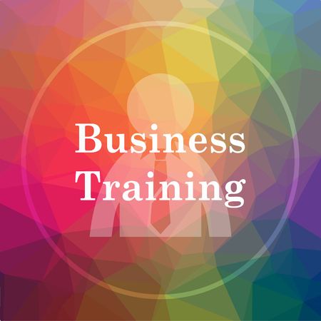 Business training icon. Business training website button on low poly background.