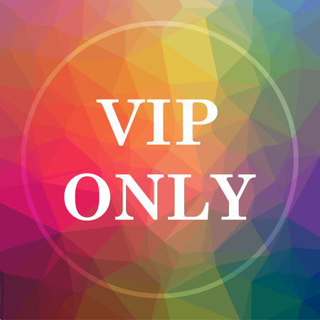 VIP only icon. VIP only website button on low poly background.