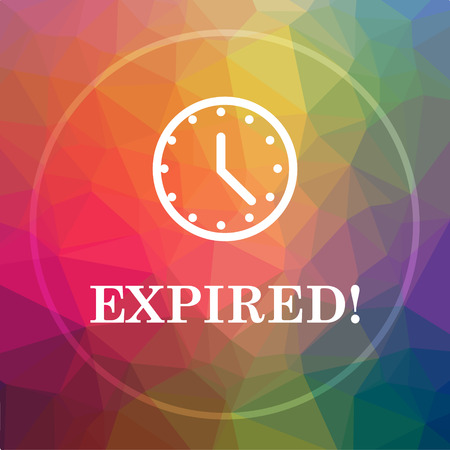expiration date: Expired icon. Expired website button on low poly background.