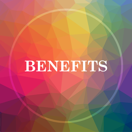 Benefits icon. Benefits website button on low poly background.