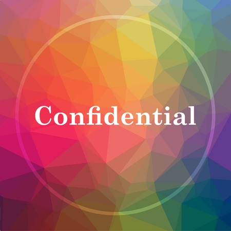Confidential icon. Confidential website button on low poly background.