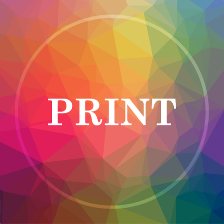 Print icon. Print website button on low poly background.