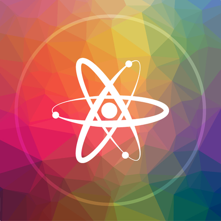 Atoms icon. Atoms website button on low poly background. Stock Photo