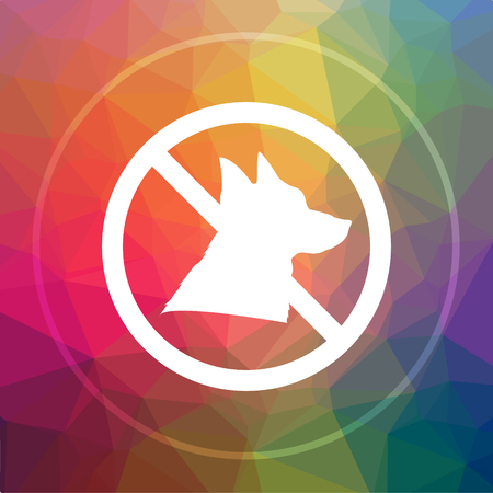 Forbidden dogs icon. Forbidden dogs website button on low poly background.