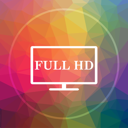 Full HD icon. Full HD website button on low poly background. Stock Photo
