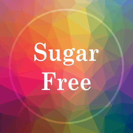 Sugar free icon. Sugar free website button on low poly background.