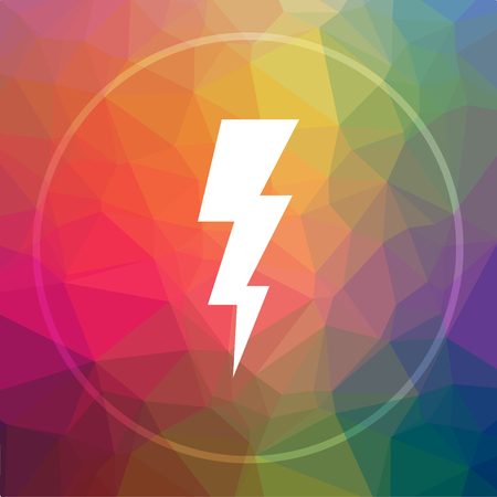 high voltage symbol: Lightning icon. Lightning website button on low poly background.