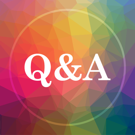 Q&A icon. Q&A website button on low poly background.