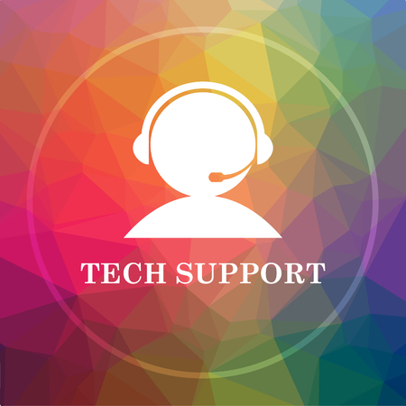 Tech support icon. Tech support website button on low poly background.