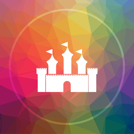 Castle icon. Castle website button on low poly background. Stock Photo