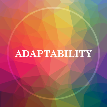 Adaptability icon. Adaptability website button on low poly background. Stock Photo